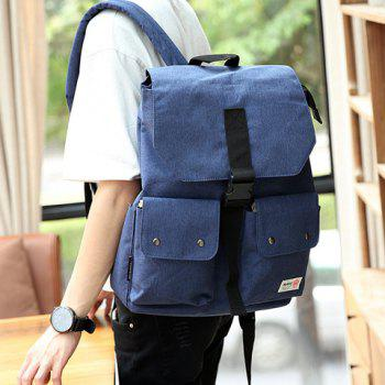 Leisure Pocket and Canvas Design Men's Backpack - BLUE