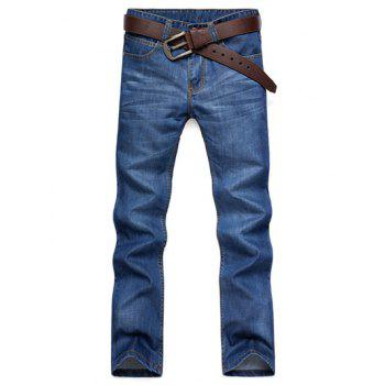 Casual Straight Leg Cat's Whisker Patch Pocket Fitted Men's Zipper Fly Jeans