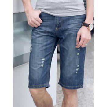 Cat's Whisker and Hole Embellished Fitted Straight Leg Zipper Fly Men's Denim Shorts