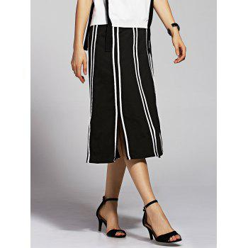 Stylish High Waisted Striped Slit Skirt For Women