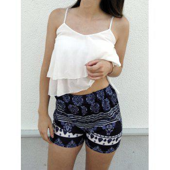 Trendy Women's  White Flounced Tank Top and Printed Shorts Twinset - WHITE S