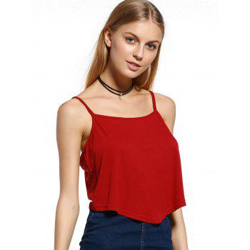 Stylish Spaghetti Strap Sleeveless Candy Color Crop Top For Women - RED XL