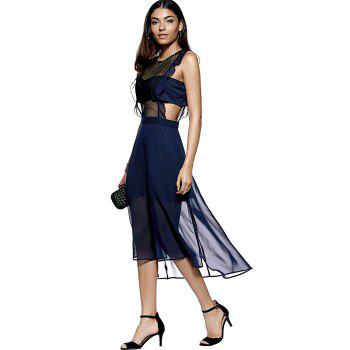 Fashionable Women's Fitted Scoop Neck Midi Calf Dress - DEEP BLUE S