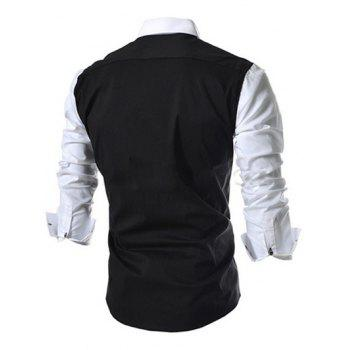 Casual Button-down Color Block Long Sleeves Shirts For Men - BLACK L