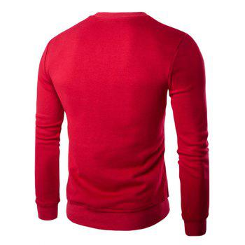 Letters Print Round Neck Long Sleeve Men's Sweatshirt - RED M