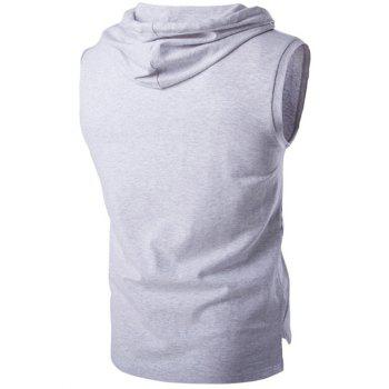 Stylish Hooded Solid Color Sleeveless Men's T-Shirt - LIGHT GRAY 2XL
