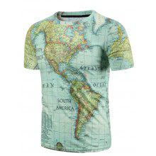 Casual Round Neck World Map Print Men's Short Sleeves T-Shirt