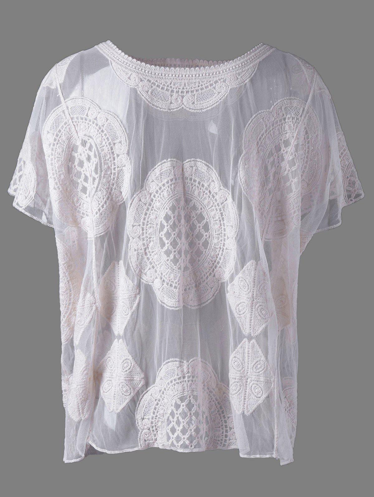 Stylish Women's Scoop Neck Lace Batwing Sleeves Blouse - BEIGE ONE SIZE(FIT SIZE XS TO M)