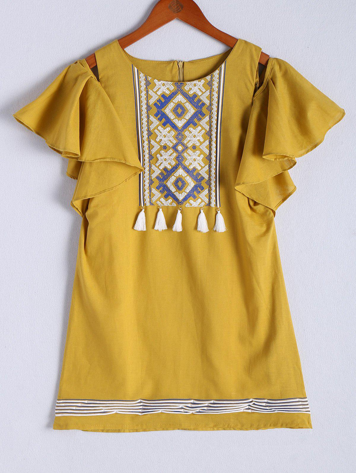 Ethnic Women's Cold Shoulder Tribal Print Flounced Fringed Dress - EARTHY ONE SIZE(FIT SIZE XS TO M)