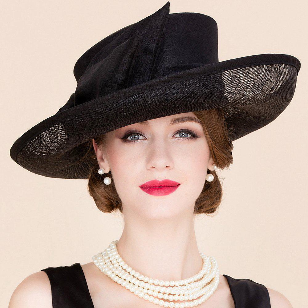 Elegant Lady Exaggerated Bow Decorated Formal Occasion Black Linen Church Hat -  BLACK