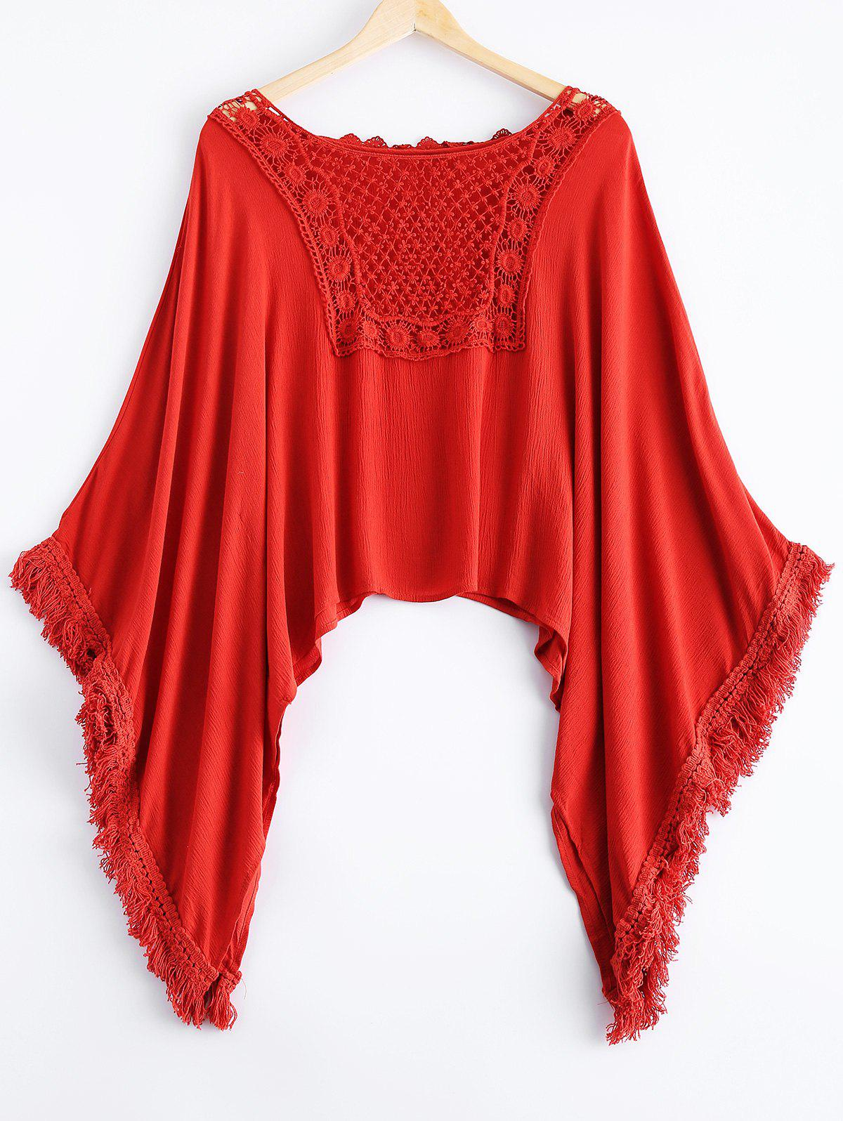 Ethnic Style Women's Scoop Neck Lace Dolman Sleeve Top - DARKSALMON ONE SIZE(FIT SIZE XS TO M)