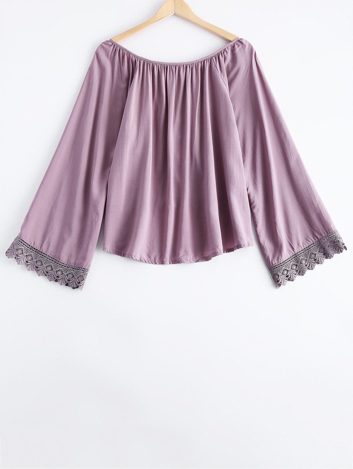 Simple Scoop Neck Button Lace Long Sleeves Blouse For Women - LIGHT PURPLE ONE SIZE(FIT SIZE XS TO M)
