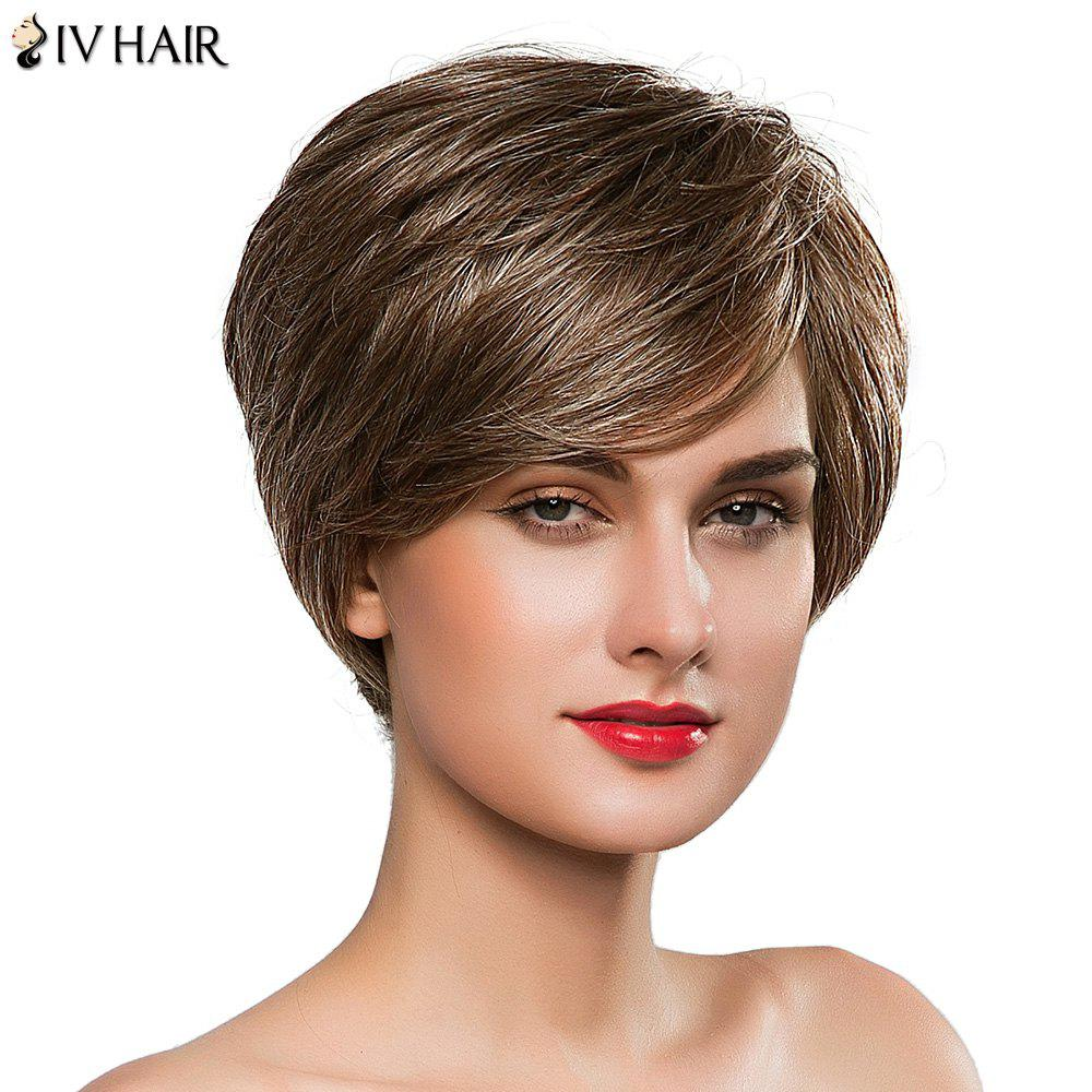 Stunning Women's Side Bang Short Fluffy Siv Human Hair Wig