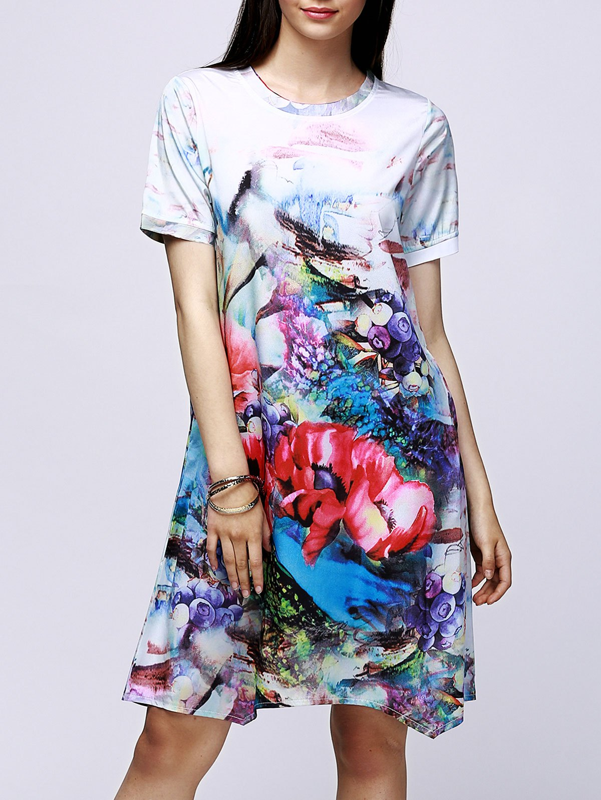 Elegant Jewel Neck Floral Print Short Sleeve Dress For Women