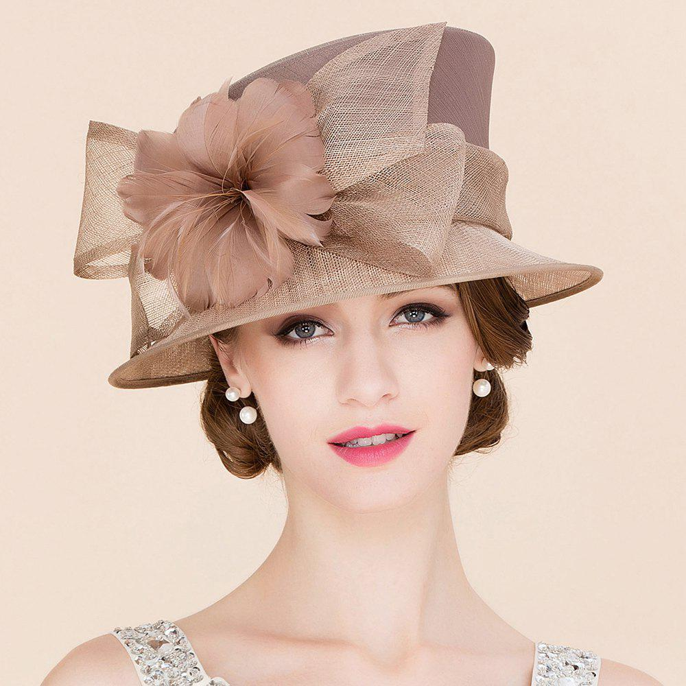 Elegant Lady Feathered Flower and Big Bow Decorated Wedding Tea Party Cambric Hat - KHAKI