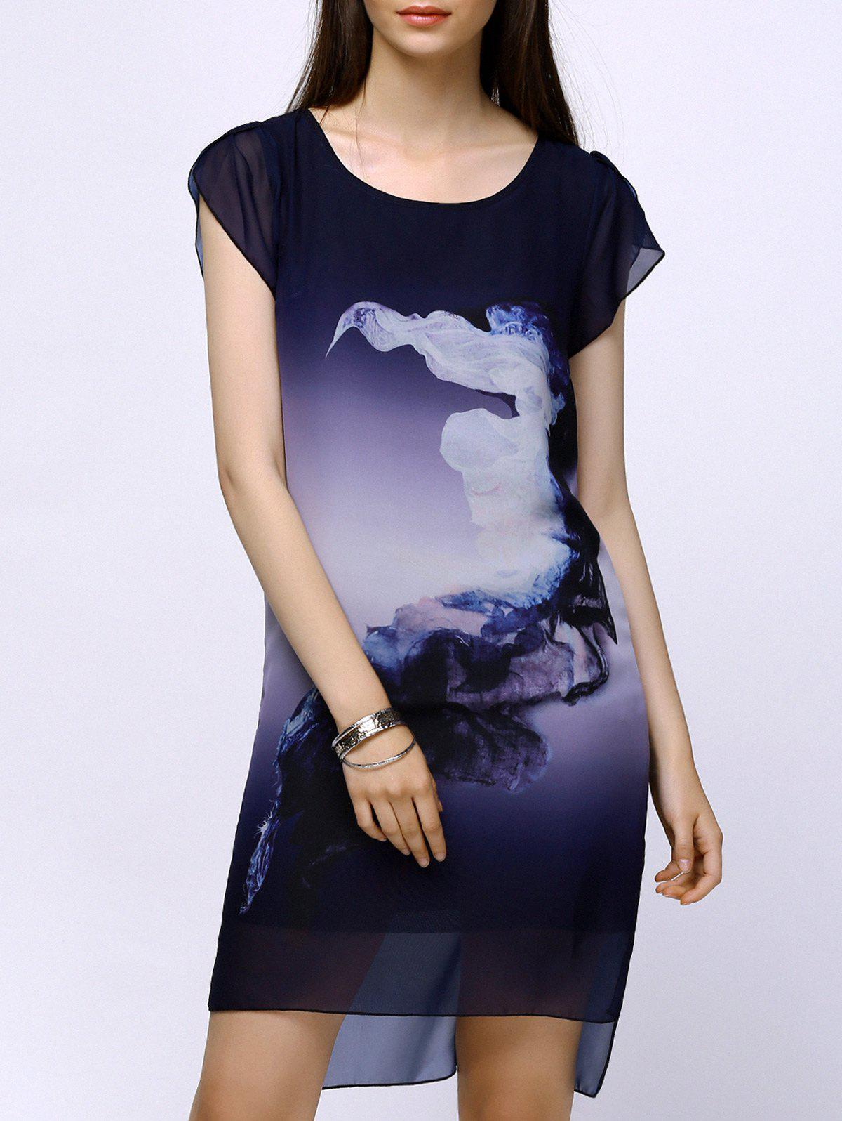 Elegant Ink Print Cap Sleeve Chiffon High Low Dress For Women