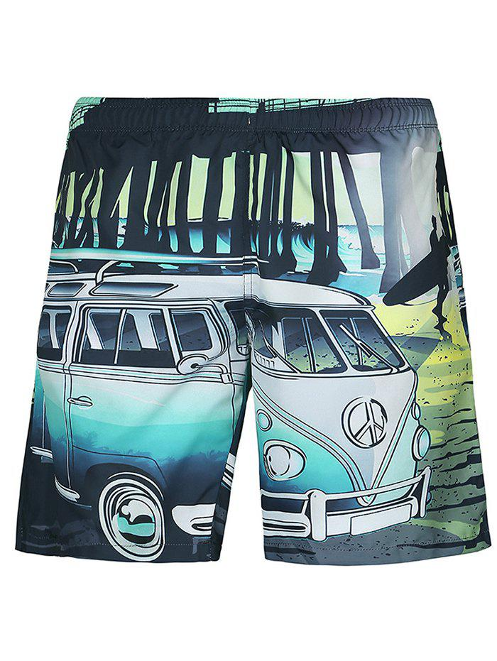 Casual Straight Leg Car Printed Lace Up Boardshorts - COLORMIX 2XL