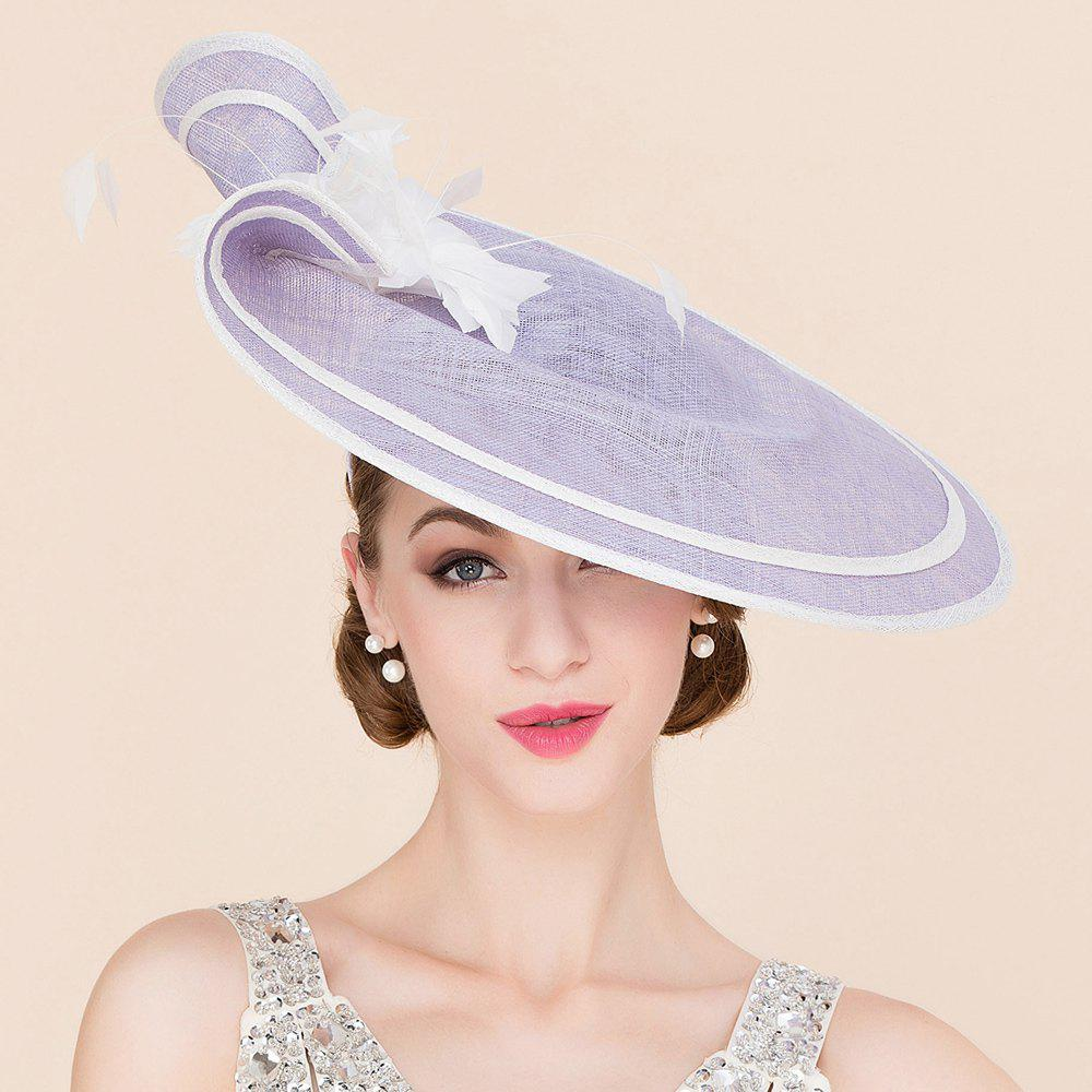 Elegant Lady Flower and Feather Design Fascinator Headband Wedding Tea Party Light Purple Cocktails Hat