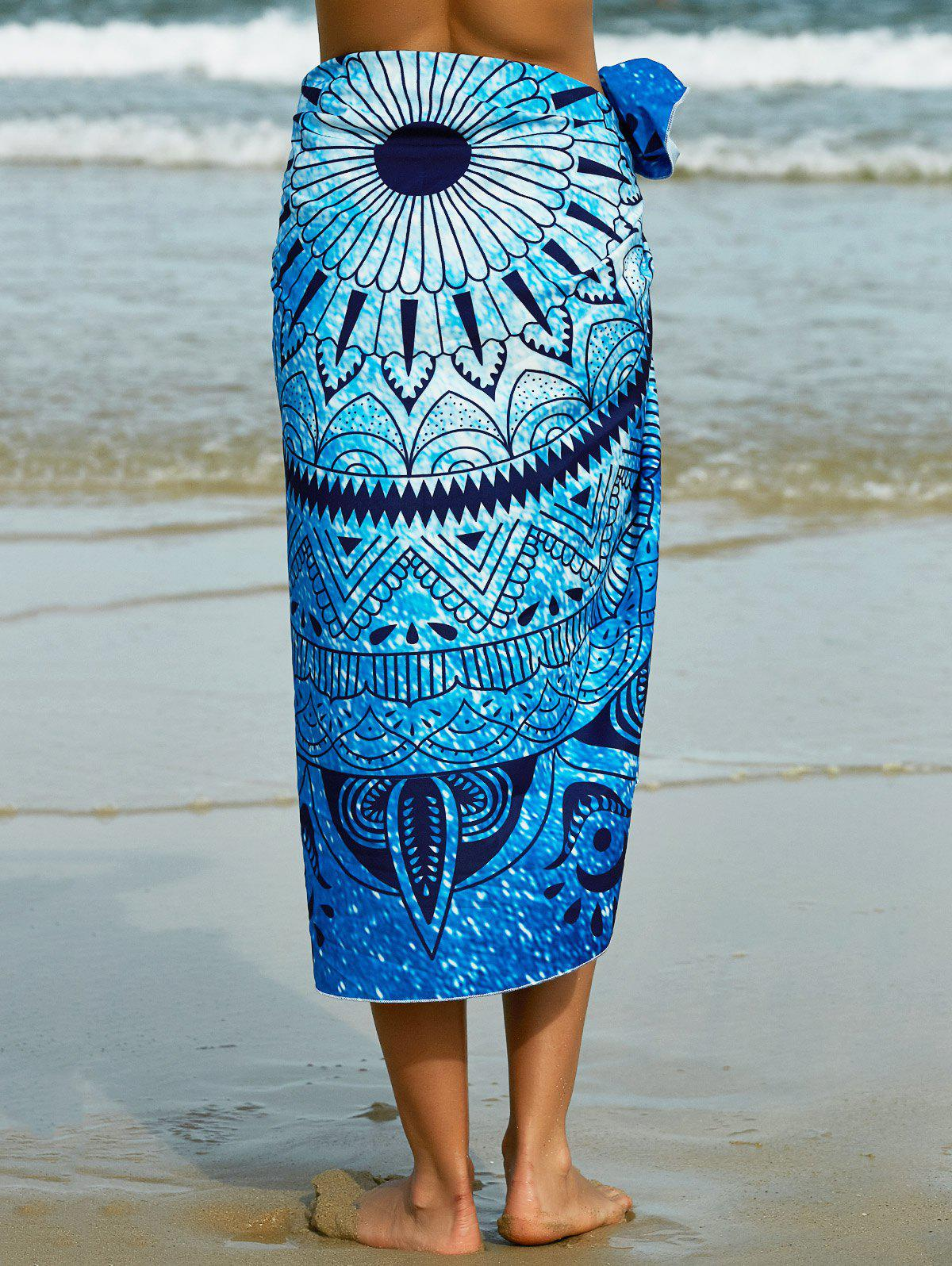 Abstract Tribal Print Sarong Beach Throw - BLUE ONE SIZE(FIT SIZE XS TO M)