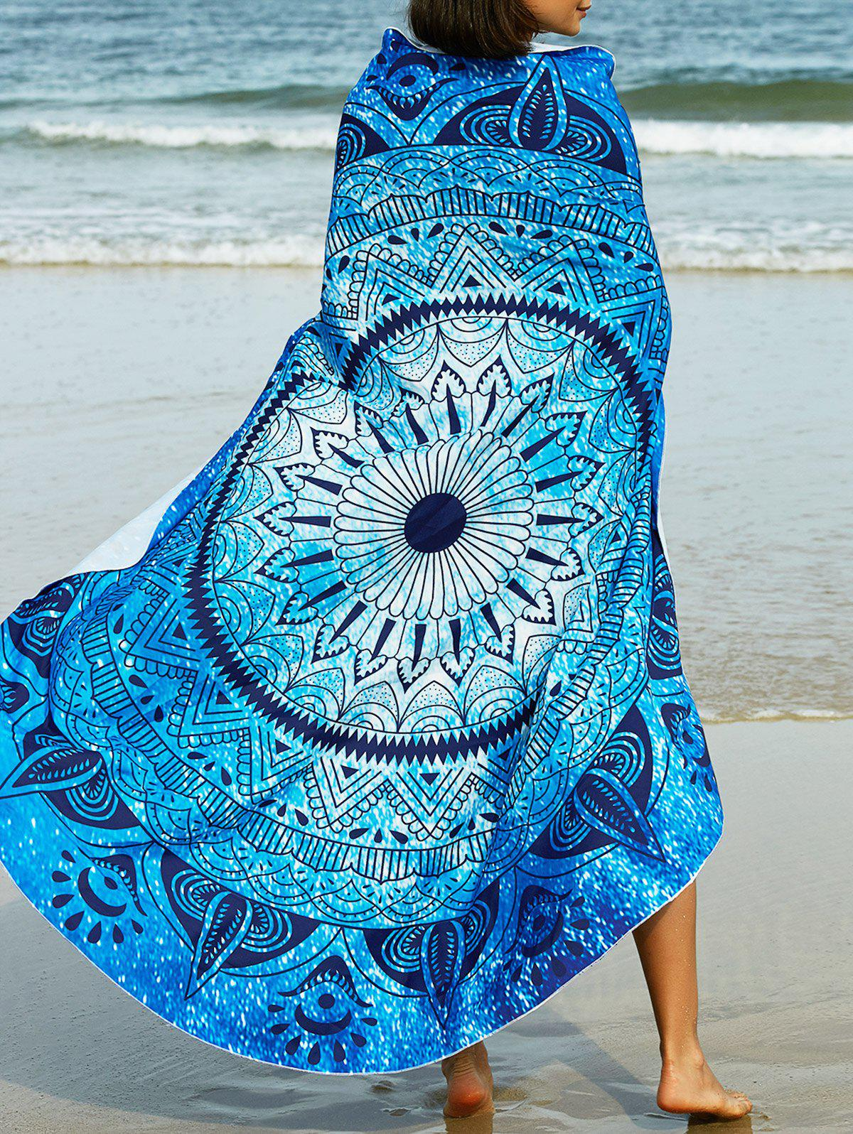 Ethnic Style Abstract Tribal Print Sarong - BLUE ONE SIZE(FIT SIZE XS TO M)