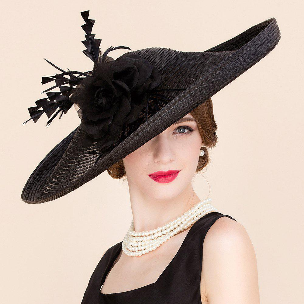 Elegant Lady Fascinator Headband Flower Feather Wedding Tea Cocktails Party Black Straw Hat