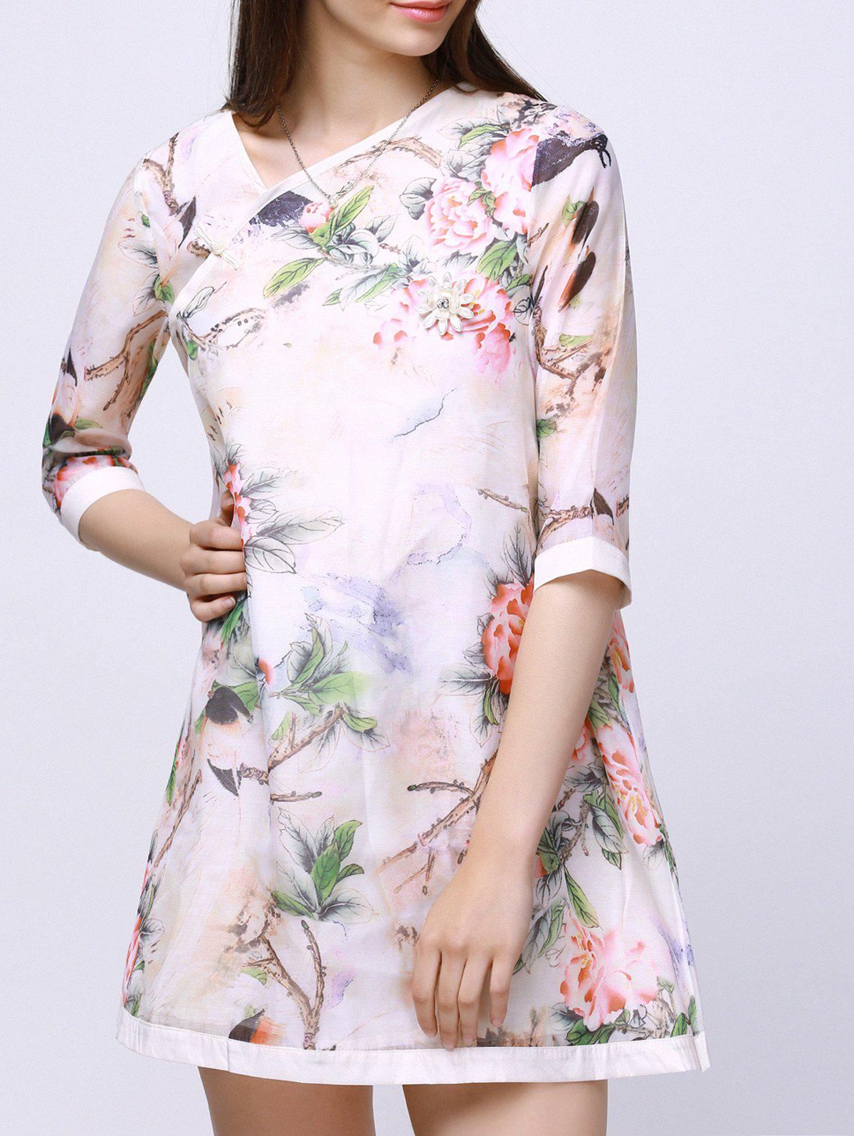 Bird Floral Print Gauze Dress - OFF WHITE XL