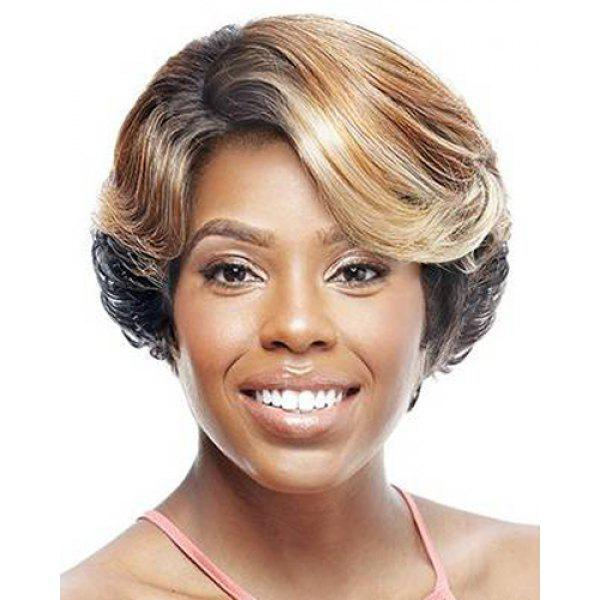 Fluffy Natural Wave Elegant Short Mixed Color Side Bang Synthetic Wig For Women