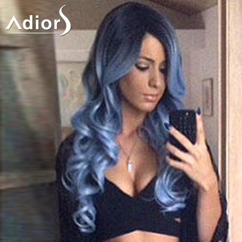 Fluffy Wavy Ombre Color Attractive Long Side Bang Synthetic Adiors Wig For Women - COLORMIX