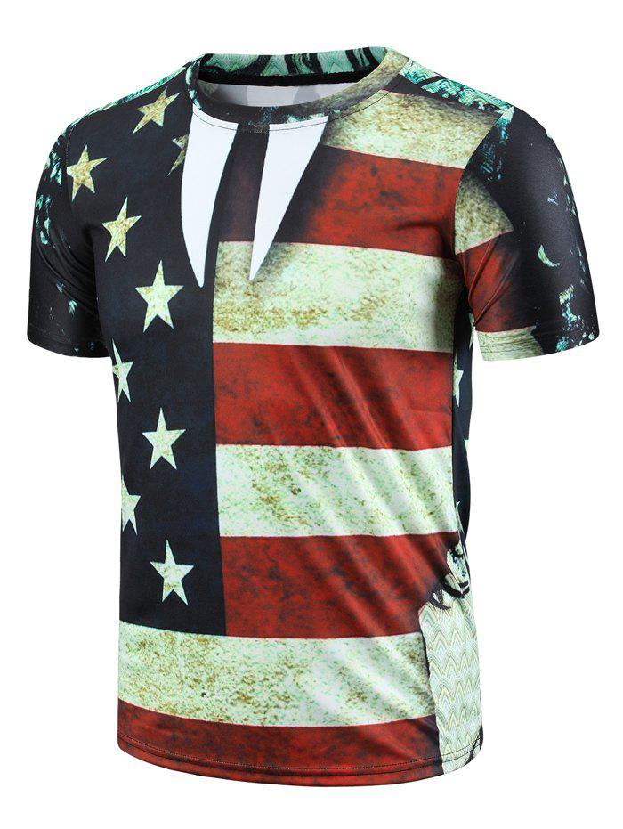 Casual Round Neck Color Block Stripes Stars Print Short Sleeve Men's T-Shirt