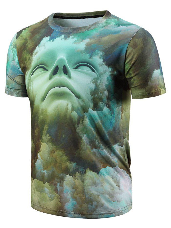 Modish Round Neck 3D Abstract Face Pattern Short Sleeve Men's T-Shirt - GREEN S