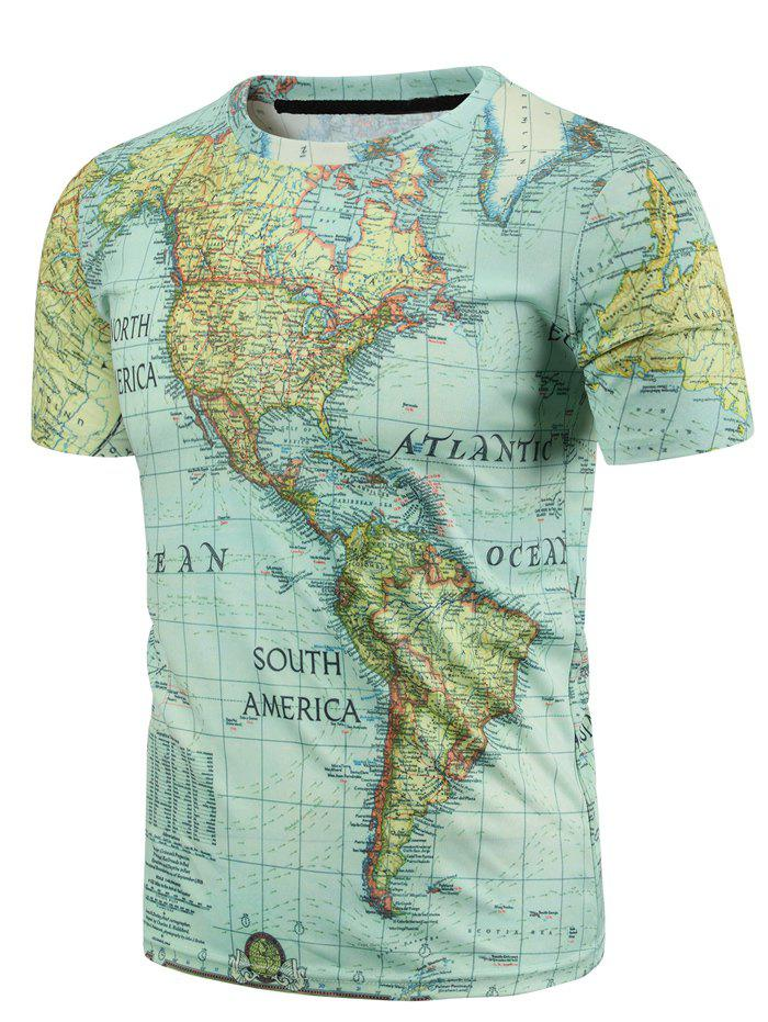Casual Round Neck World Map Print Men's Short Sleeves T-Shirt - COLORMIX L