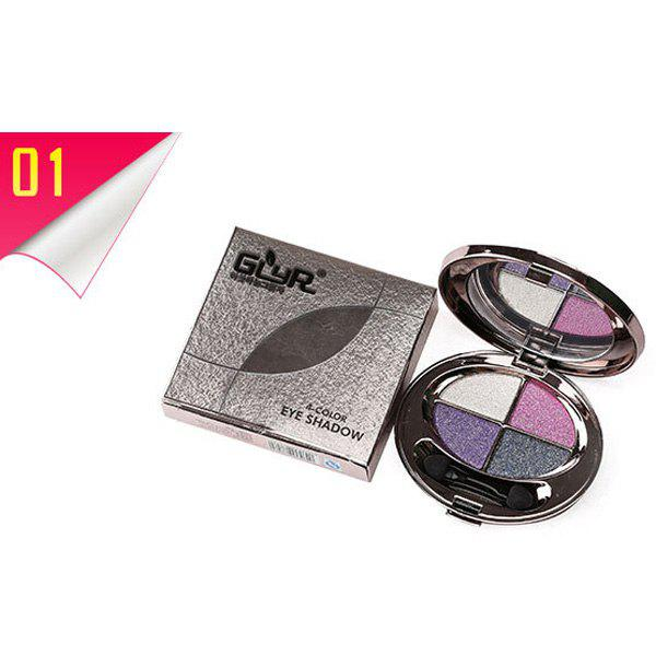 Cosmetic 4 Colours Smooth Shimmery Diamond Eyeshadow Palette with Mirror and Brush -