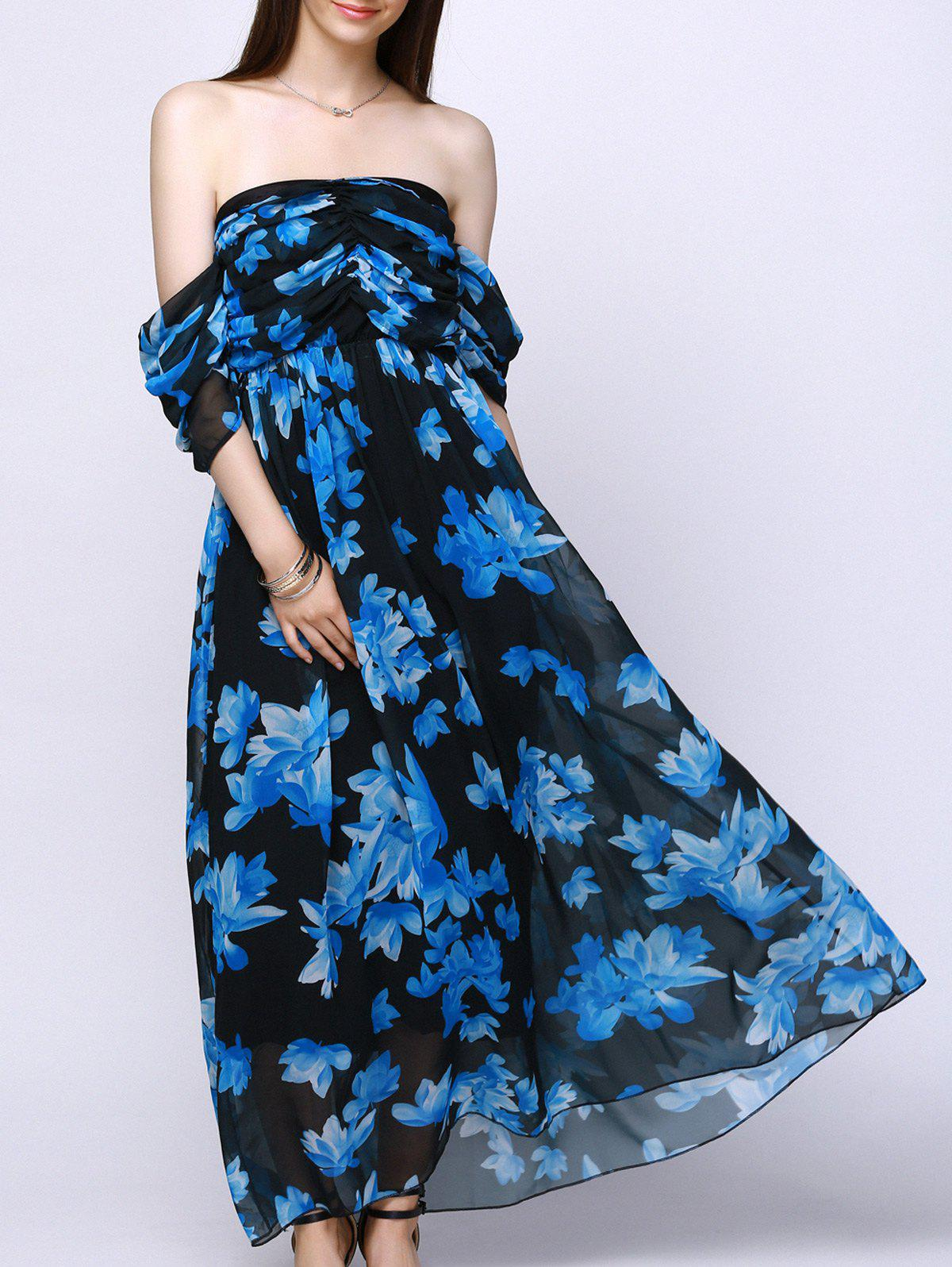 Alluring Strapless Floral Print Draped Sleeves Chiffon Dress For Women - BLUE/BLACK M