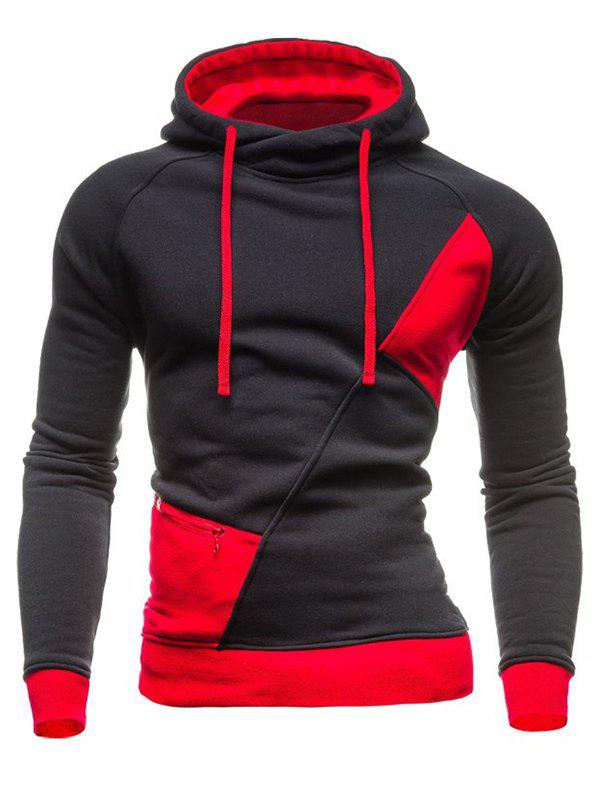 Hooded Drawstring Color Block Spliced Zipper Design Long Sleeve Men's Hoodie - DEEP GRAY 2XL