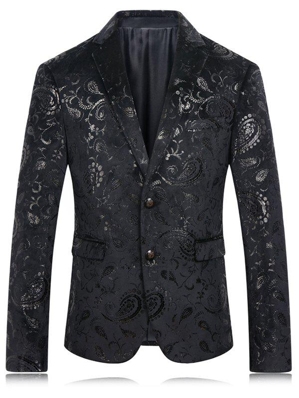 Buy Lapel Golden Flower Print Long Sleeve Men's Blazer BLACK