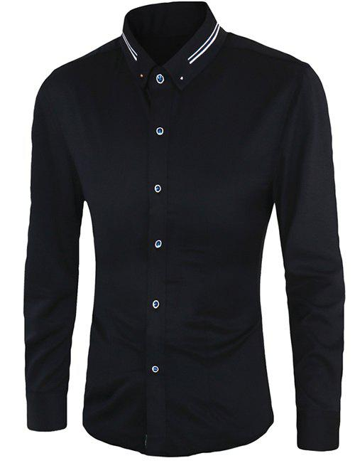 Casual Plus Size Long Sleeves Button-down Shirts For Men - BLACK 3XL