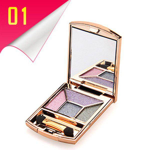 Cosmetic 4 Colours Rhinestone Earth Colors Diamond Eyeshadow Palette with Mirror and Brush