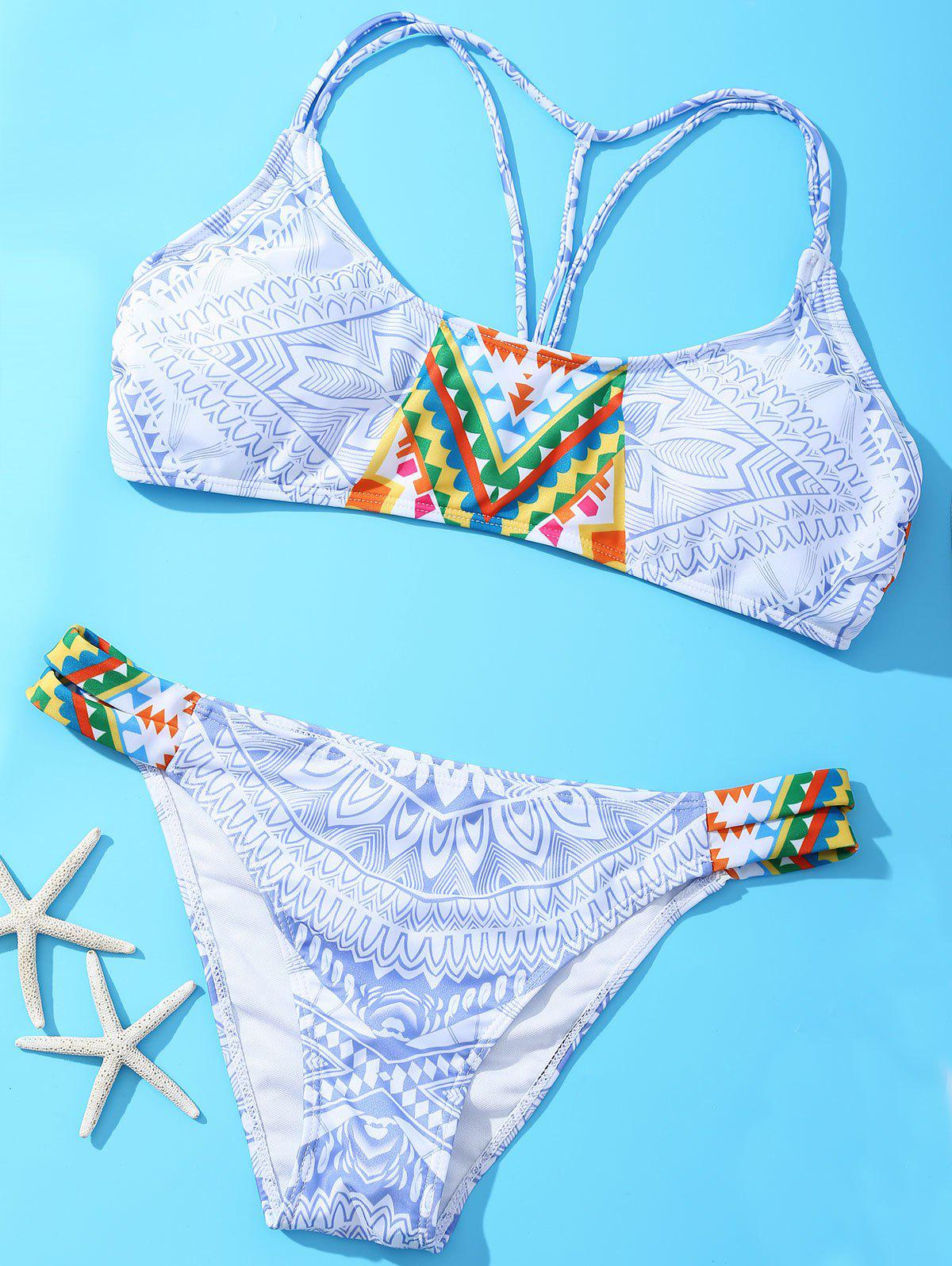 Halter Geometric Strappy Bikini - COLORMIX XL