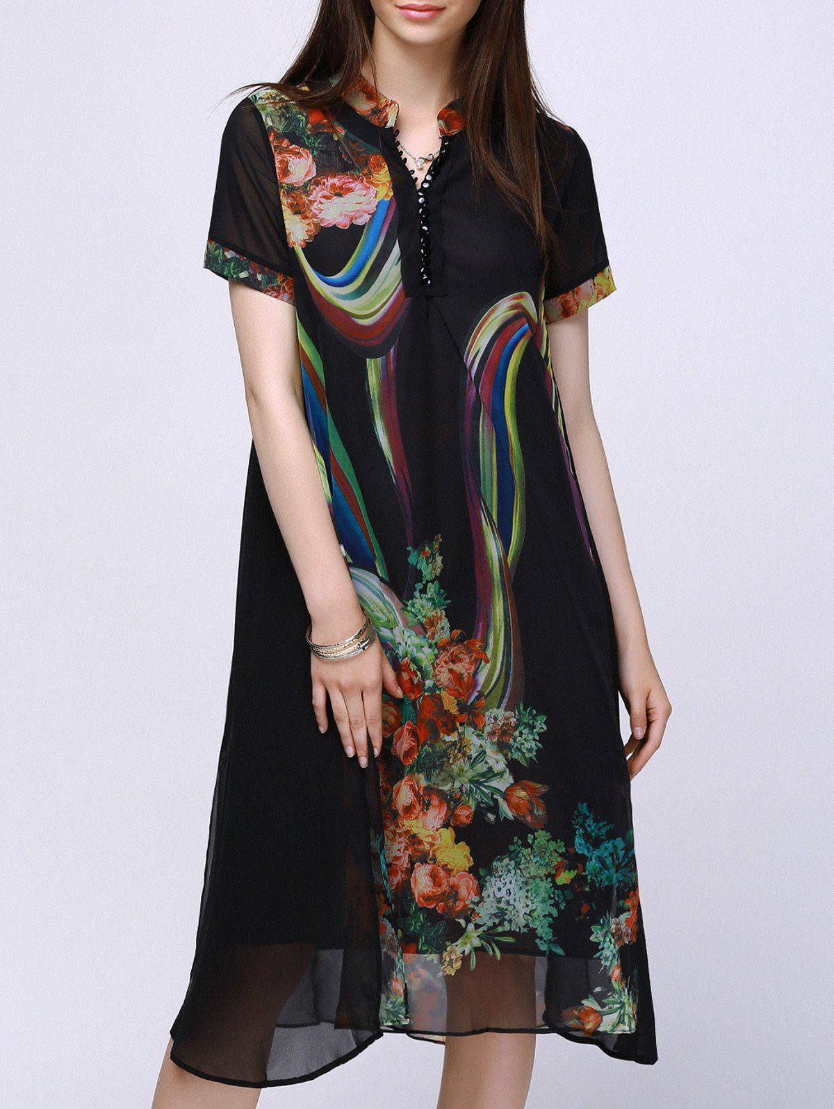 Trendy Stand Collar Loose Fitting Flower Print Chiffon Dress For Women - BLACK 3XL