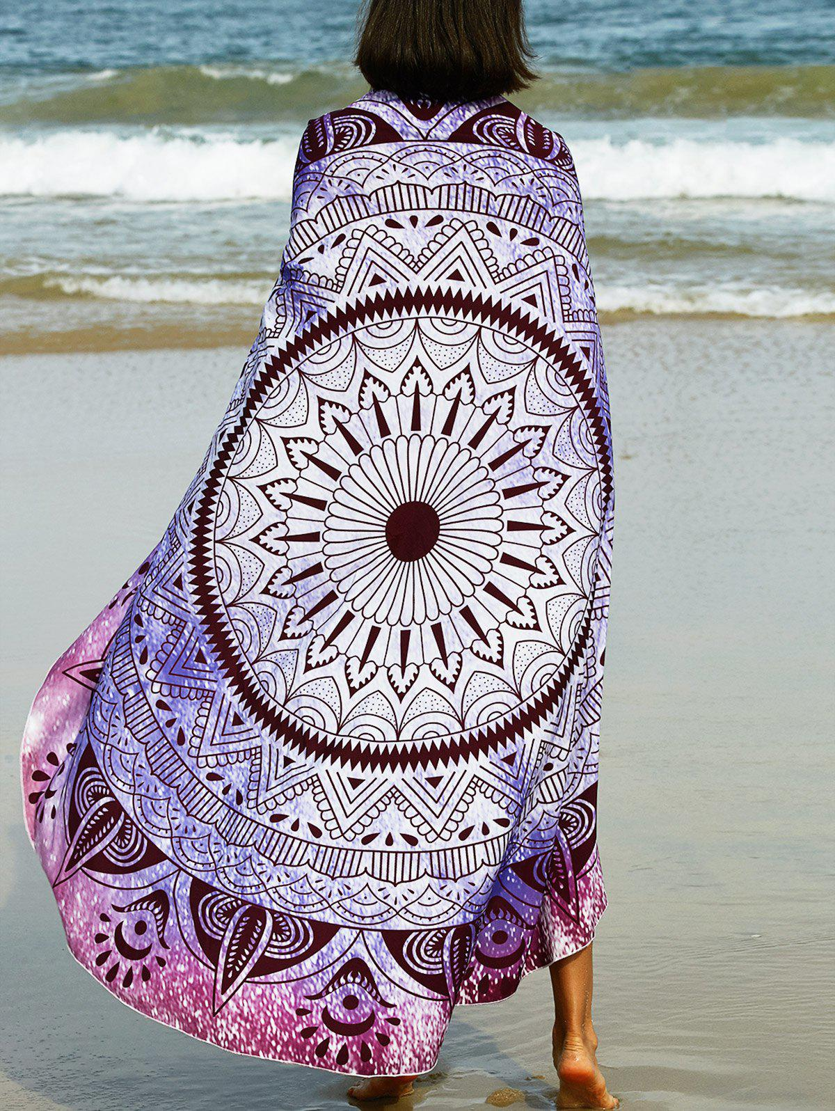 Bohemian Tribal Print Round Sarong Beach Throw - PURPLE ONE SIZE(FIT SIZE XS TO M)