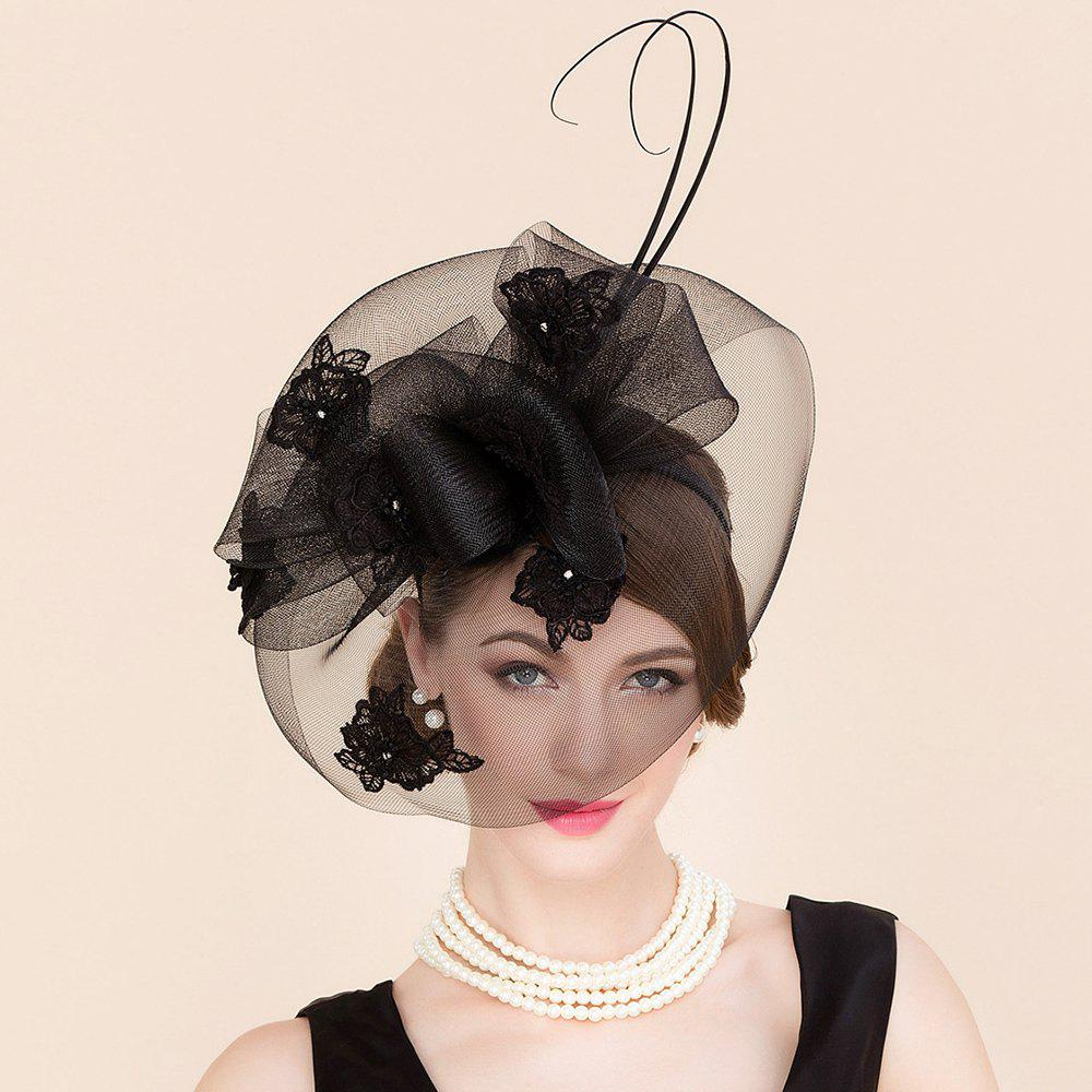 Cocktails Noir Elegant Lady strass Fleur Broderie Bridal Veil Fascinator Party Festival Hat - Noir