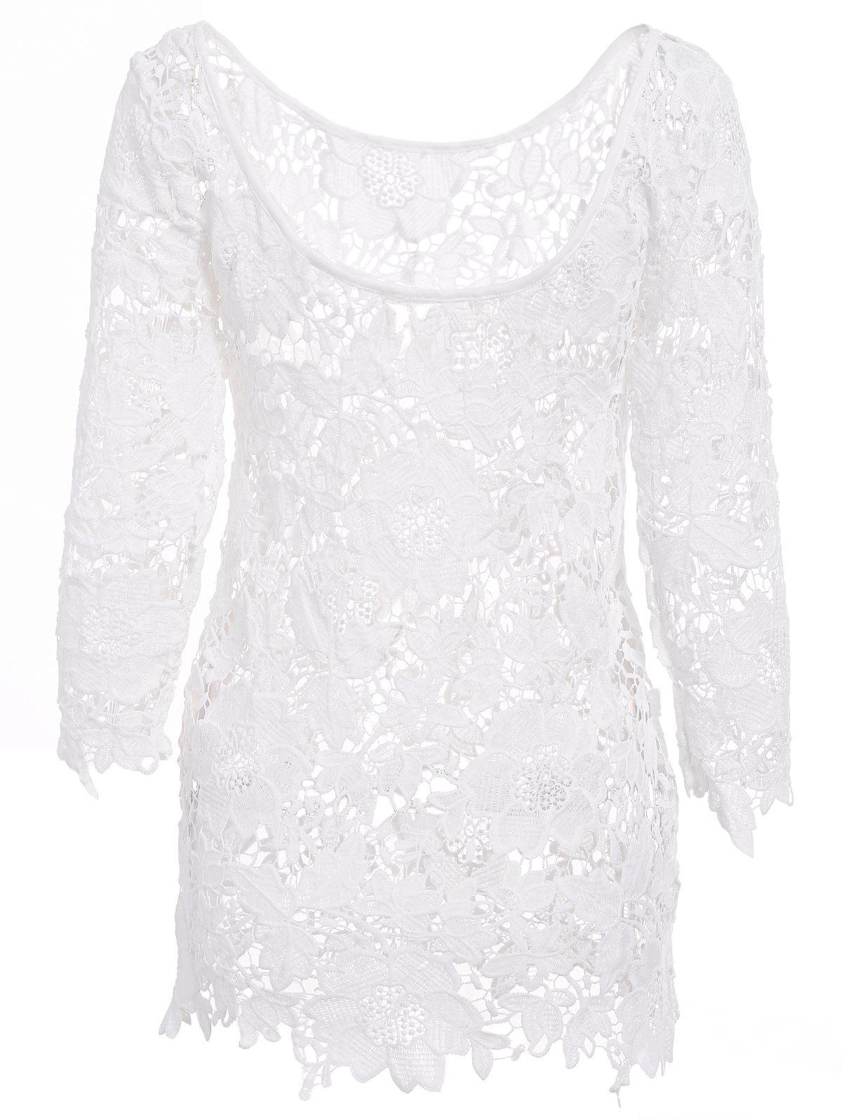 Sexy Round Neck 3/4 Sleeve Crochet Cut Out Women's Cover Up - WHITE L
