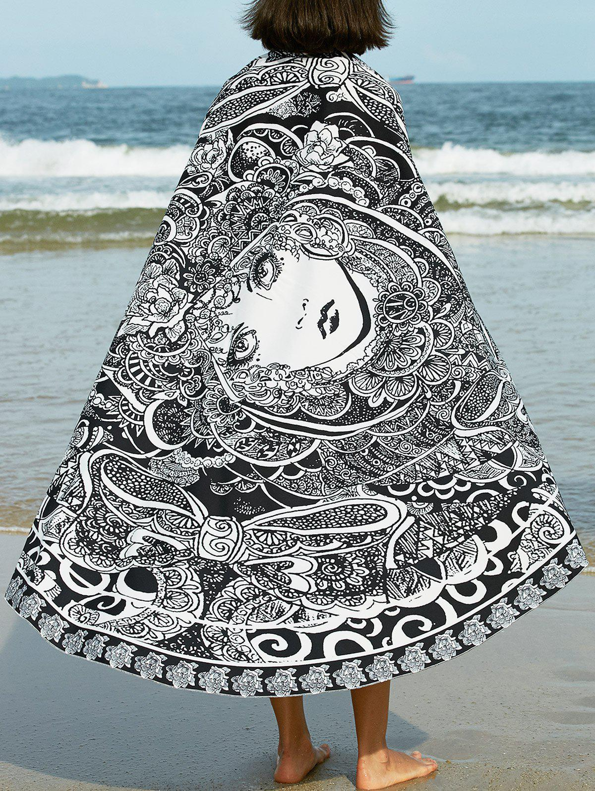 Bohemian Peking Opera Print Round Beach Sarong For Women - ONE SIZE(FIT SIZE XS TO M) BLACK