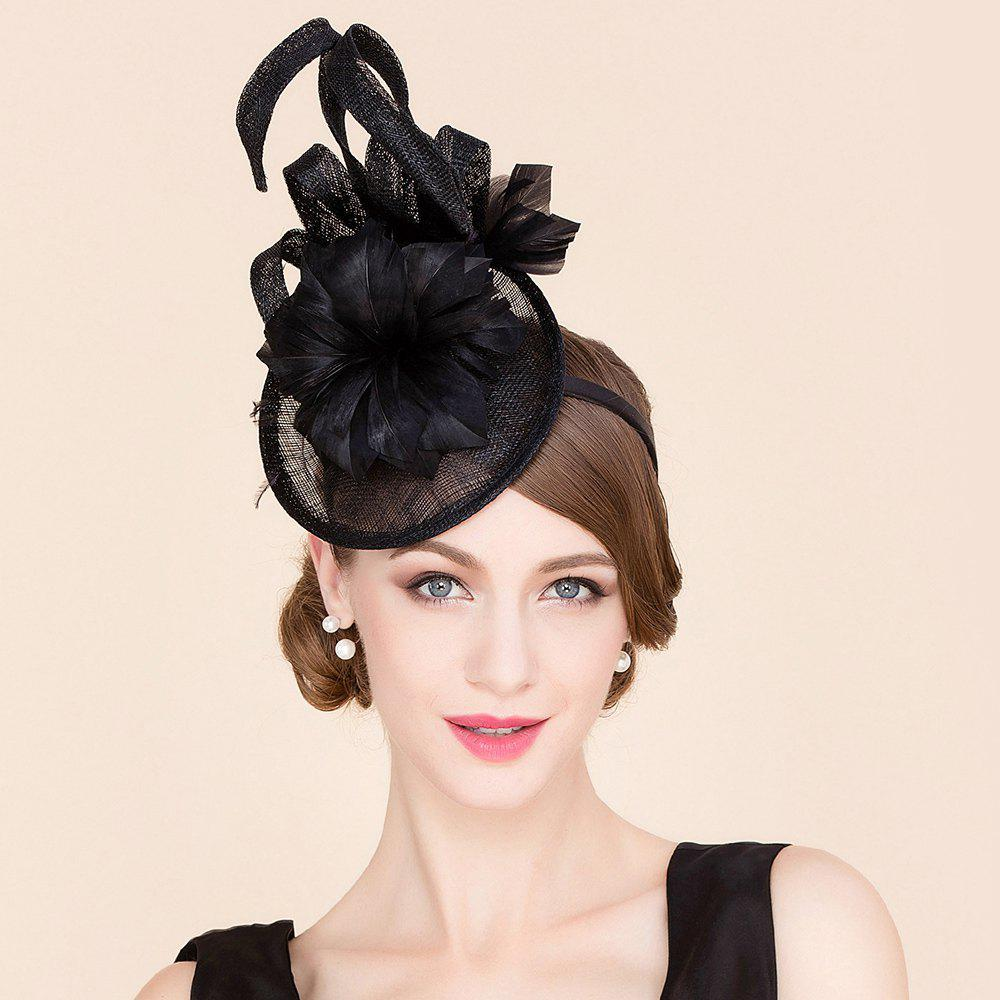 Elegant Lady Feathered Flower Charming Fascinator Banquet Party Black Cocktails Hat - BLACK