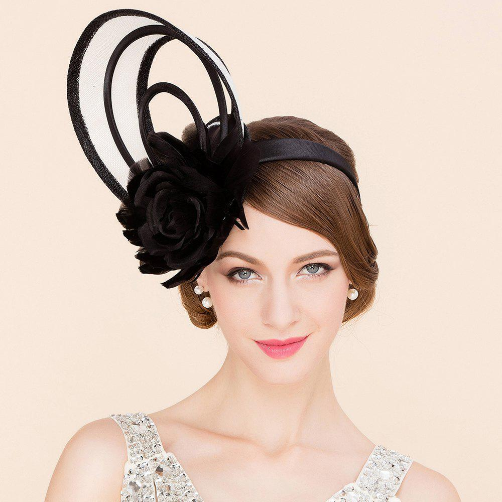 Elegant Lady Feathered Flower and Hoop Design Banquet Party Black Fascinator Cocktails Hat - BLACK