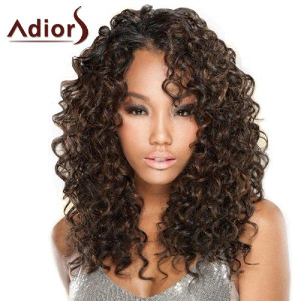 Shaggy Curly Brown Mixed Synthetic Vogue Long Women's Capless Adiors Wig