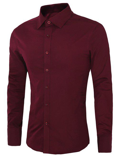 Casual Plus Size Long Sleeves Solid Color Shirts For Men - WINE RED 5XL
