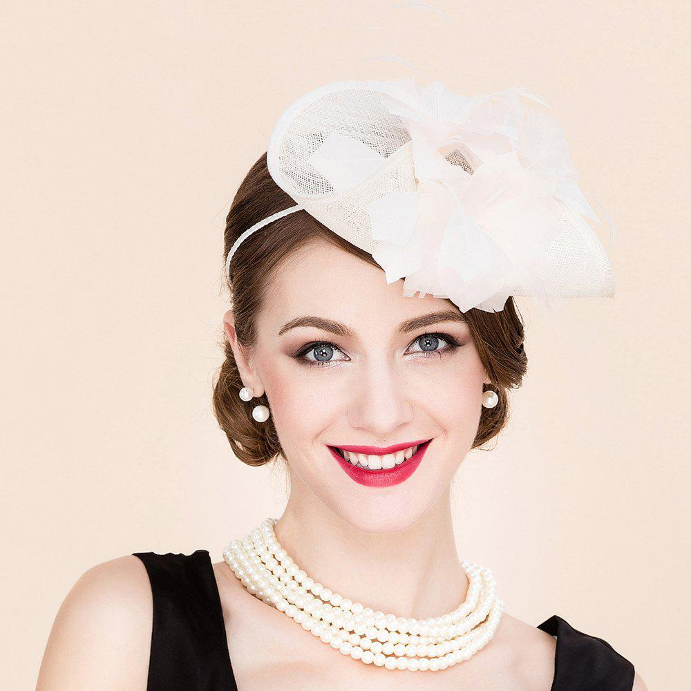 Elegant Lady Feathered Flower Fascinator Headband Wedding Banquet Party Beige Cocktails Hat - OFF WHITE