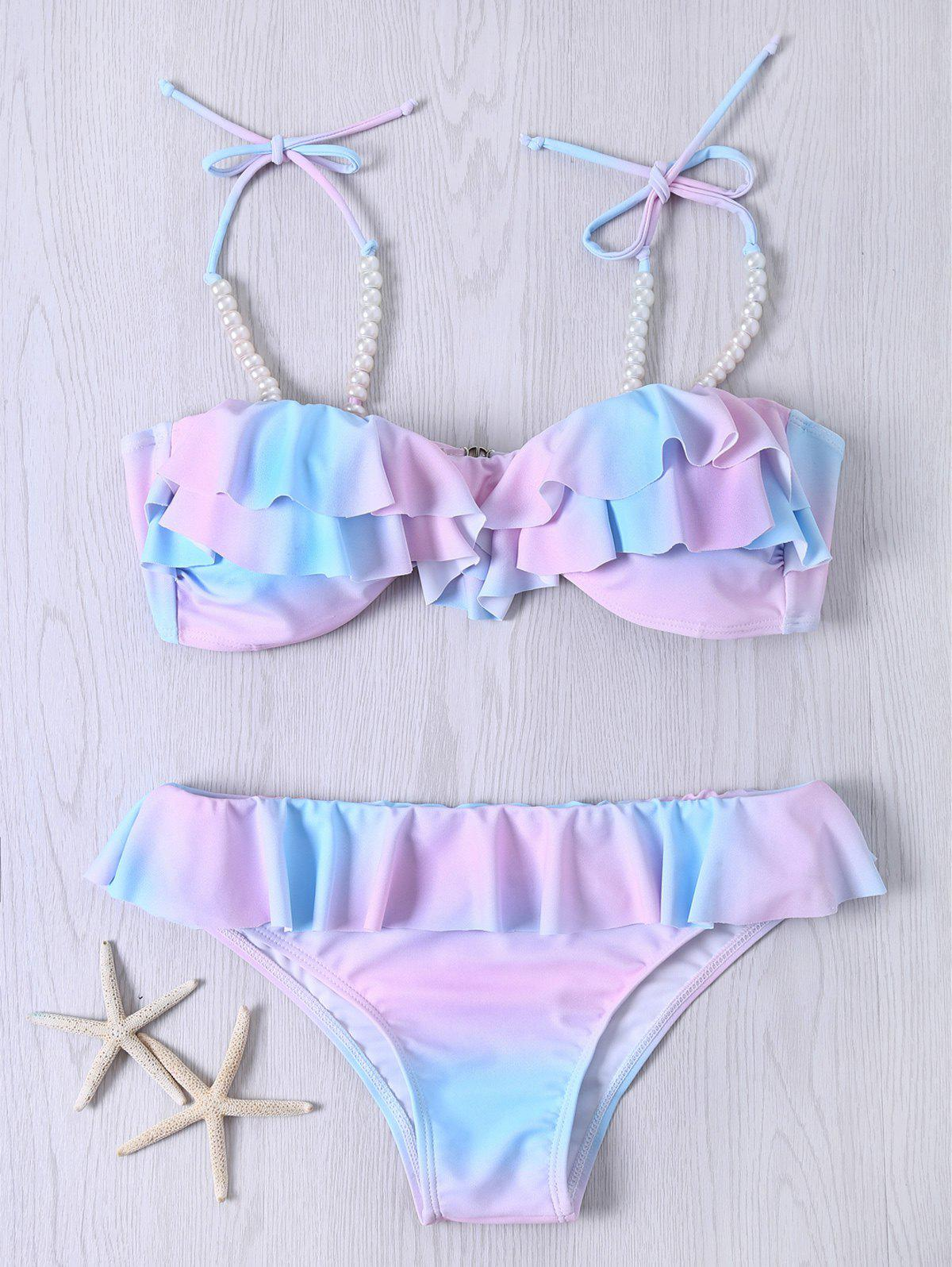 Spaghetti Strap Beaded Color Ombre Flounced Bikini Set - COLORMIX 2XL
