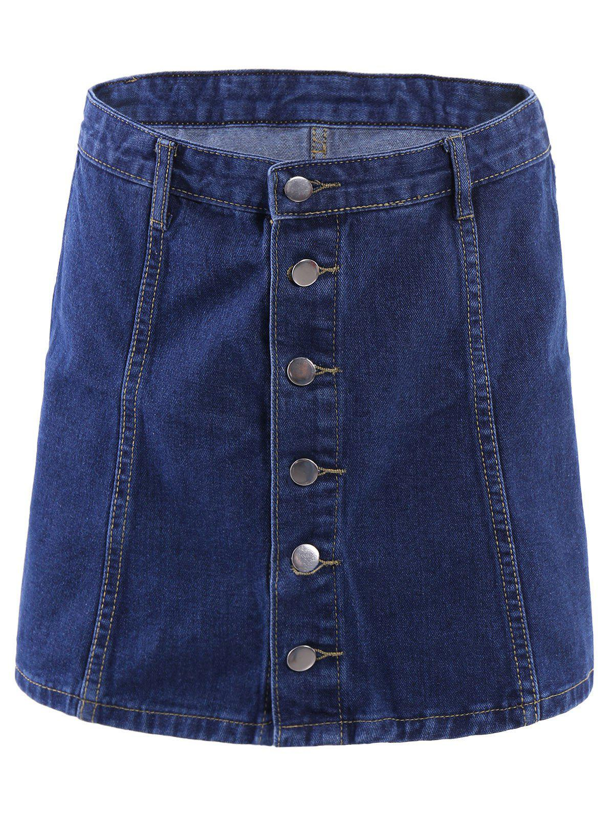 Stylish High-Waisted Button Fly Women's A-Line Denim Skirt - BLUE L